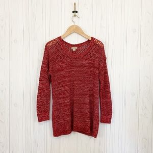 Lucky Brand Lace Up Oversized Chunky Knit Sweater